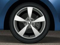 New ŠKODA logo on the wheels of the Rapid